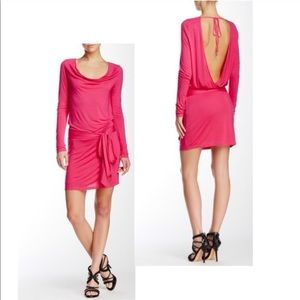 Haute Hippie Pink Faux-Wrap Backless Dress Med